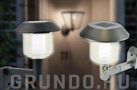 Napelemes fali LED lámpa időjárásálló házban