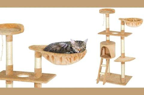 Macska mászóka koptatófákkal és játékokkal