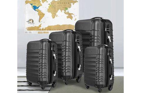 4 db merev falú bőrönd különböző méretben