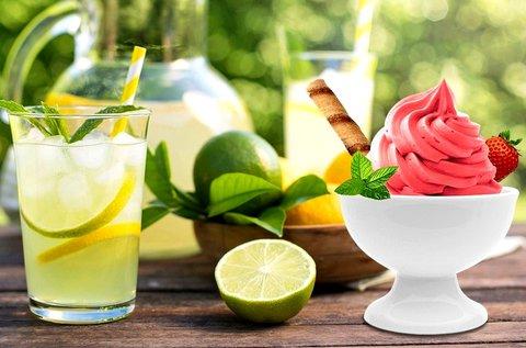 3 dl mentás limonádé + 3 gombócos fagylaltkehely