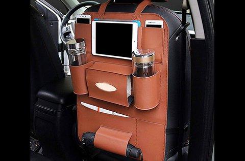 Ülésvédő autós tároló tépőzárral, barna színben