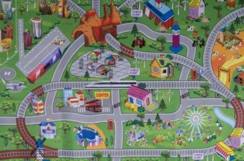 Színes játszószőnyeg autókkal és jelzőtáblákkal