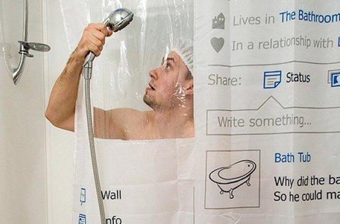 Vicces Facebook dizájnú zuhanyfüggöny