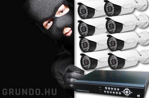 8 kamerás komplett megfigyelő rendszer