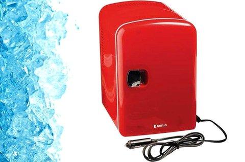 Hordozható mini hűtőszekrény piros színben