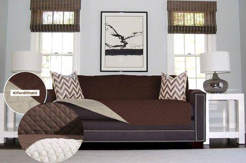 Dupla oldalú kanapévédő takaró barna-bézs színben