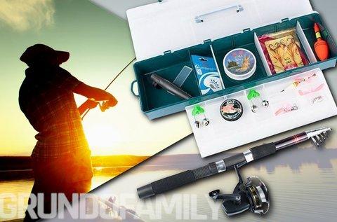 Komplett horgászfelszerelés praktikus hordozóban