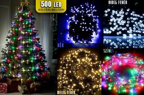 500 LED-es karácsonyi égősor 8 féle fényjátékkal