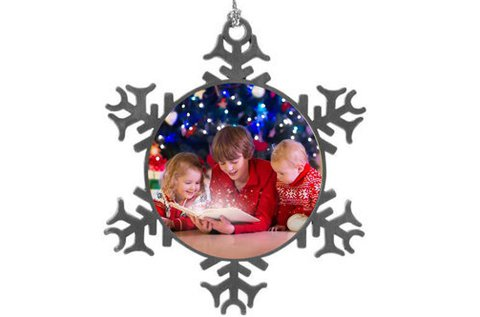 2 db fém karácsonyfadísz saját fotóval