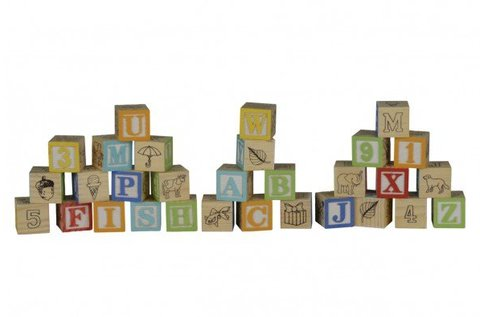 30 db-os fa építőkocka szett betűkkel és számokkal