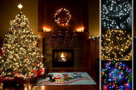 26 m-es karácsonyi fényfüzér 4 színben