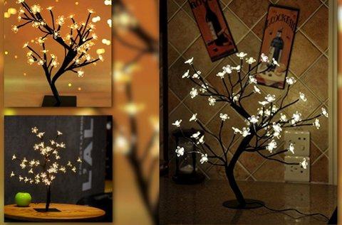 48 LED-es asztali sakura fa kellemes, fehér fénnyel