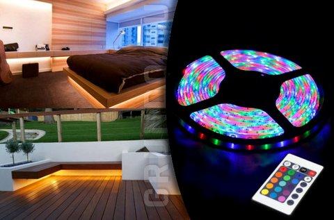 5 m-es vízálló RGB LED szalag távirányítóval