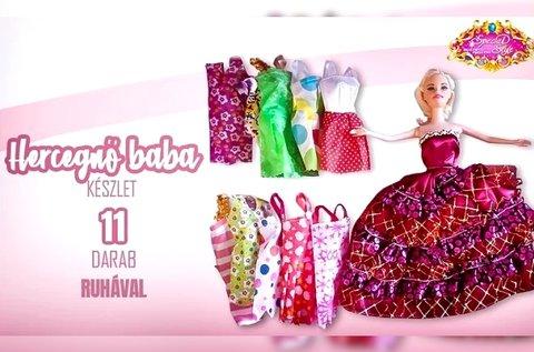 Hercegnő baba 10 szett ruhával