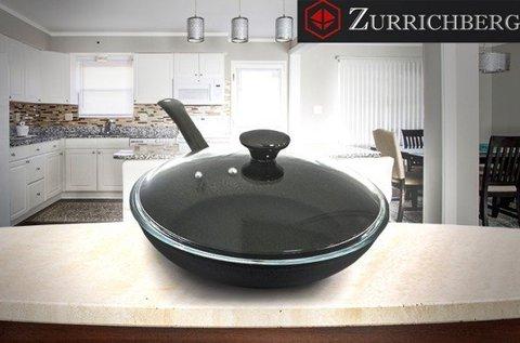 Zürrichberg 28 cm-es serpenyő hőálló üvegfedővel