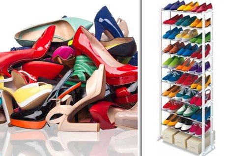 Helytakarékos cipőtároló állvány 30 pár cipőnek