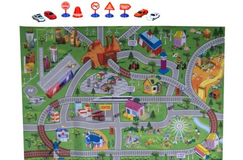 Színes játszószőnyeg kisautókkal és jelzőtáblákkal