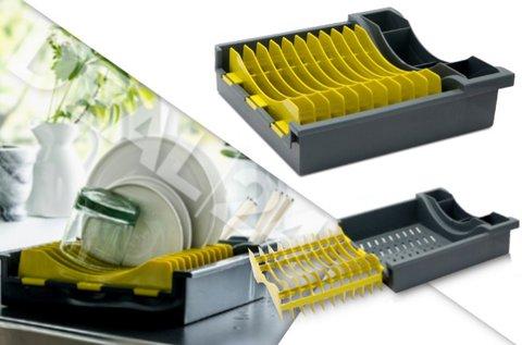 Kompakt edényszárító kihajtható tányértartóval