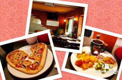 Szív alakú pizza 2 db csokoládé fondue-vel 2 főre