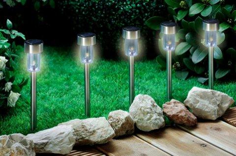 10 db napelemes kerti LED lámpa inox házban