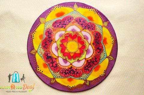 Egyedi, kézzel festett selyem mandala