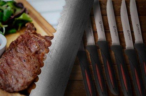 12 db Alpina steak kés fogazott széllel