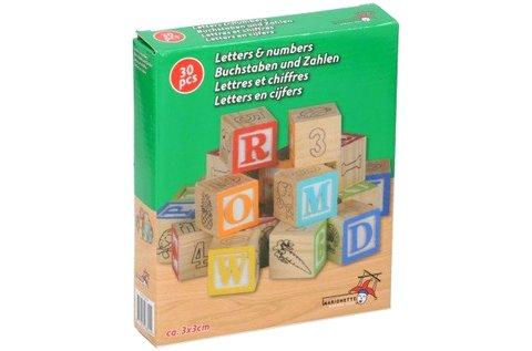 30 db színes fa építőkocka betűkkel, számokkal