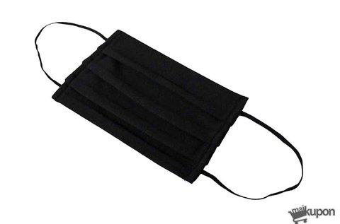 Fekete színű mosható szájmaszk gumizsinórral