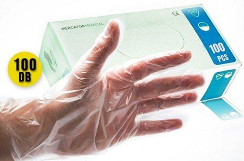 100 db eldobható kesztyű bőrbarát műanyagból