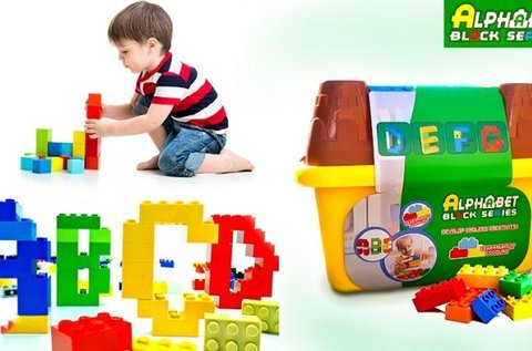 45 db-os színes, műanyag építőkocka készlet
