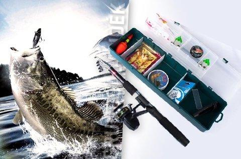 Komplett horgászfelszerelés hordozható tárolóban