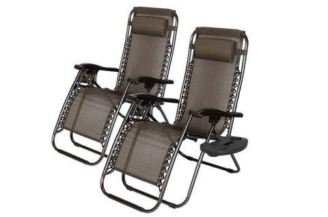 2 db Zéró gravitáció kerti szék ajándék pohártartóval