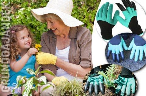 Kertészkedő kesztyű ásókarmokkal