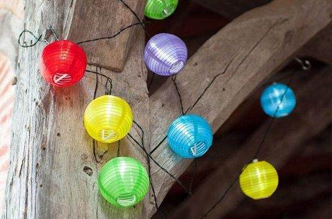 10 db színes, gömb alakú party lampion