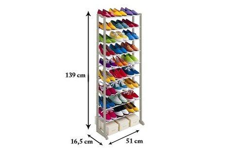 10 soros cipőtároló állvány fehér színben