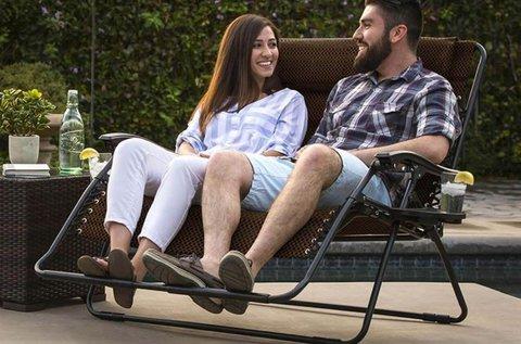 2 személyes zéró gravitáció kerti szék pohártartókkal