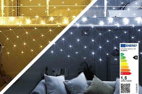Meleg- vagy hidegfehér, 128 LED-es hálós fényfüzér