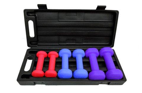 6 db-os kézi súlyzó szett praktikus hordozótáskával