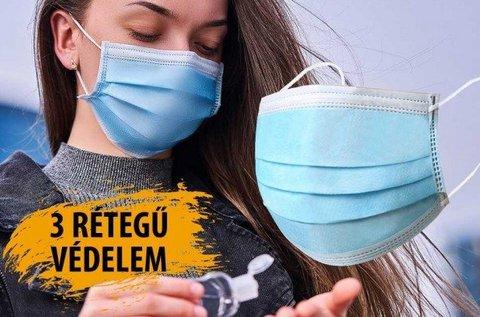3 rétegű eldobható szájmaszk