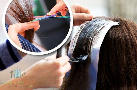 Melírozás és hajvágás  regeneráló hajpakolással