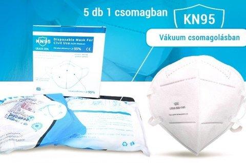 N95 típusú szájmaszk 5 db-os csomagban