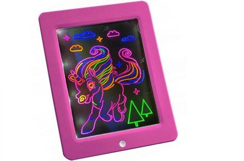 Világító rajztábla neonszínű filctollakkal