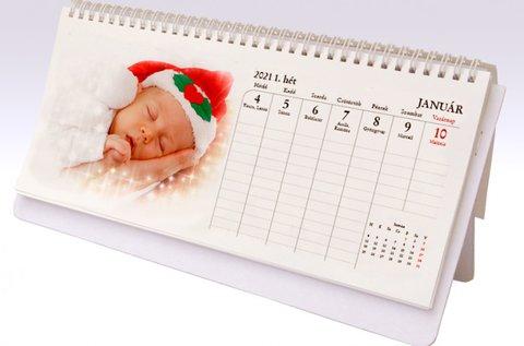 Személyre szabható, 13 lapos asztali naptár