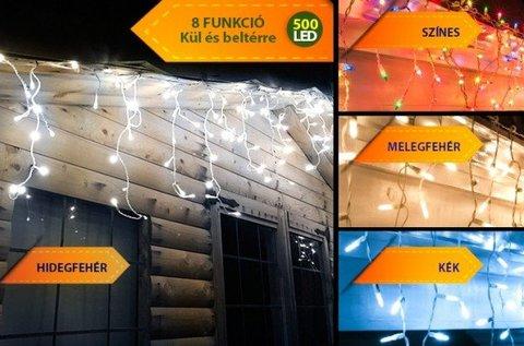 Karácsonyi hangulat 500 LED-es jégcsap fényfüzérrel