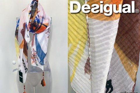 Kétoldalas, színes Desigual pliszírozott női kendő