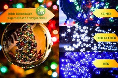240 LED-es karácsonyi égősor több színben