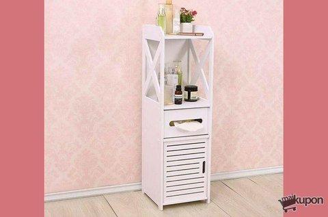 Keskeny fürdőszobai szekrény fehér színben