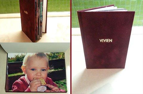 20 lapos, keménytáblás, velúr kötéses fotókönyv