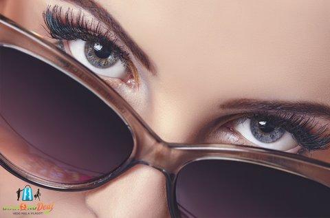 Fényre sötétedő szemüveg kerettel, látásvizsgálattal