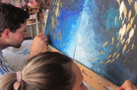 Páros élményfestés közös festmény készítésével